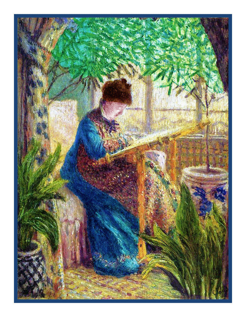 Camille Embroidering inspired by Claude Monet's impressionist painting Counted Cross Stitch  Pattern - Orenco Originals LLC