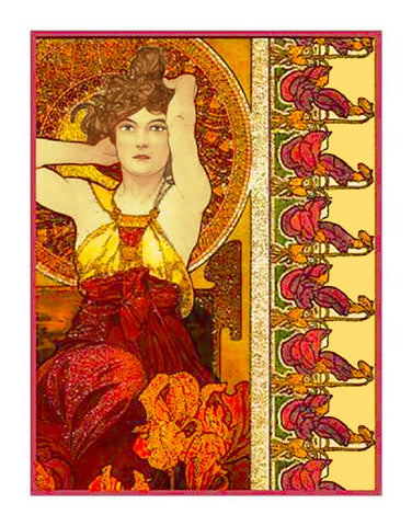 Amethyst by Alphonse Mucha Counted Cross Stitch Pattern