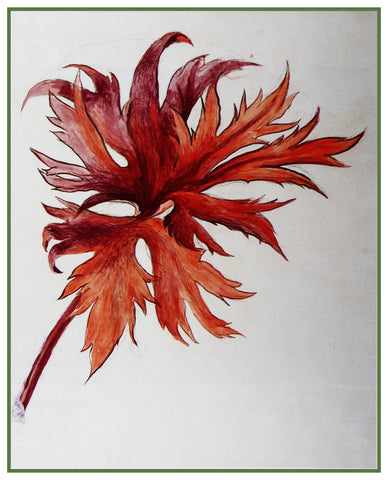 Study of an Orange and Purple Leaf Spray by John Ruskin Counted Cross Stitch or Counted Needlepoint Pattern
