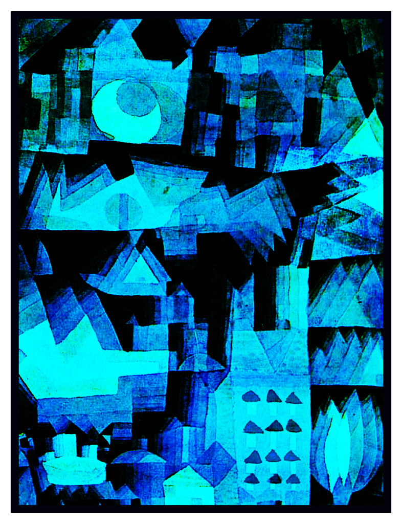 Dream City in Blue by Expressionist Artist Paul Klee Counted Cross Stitch or Counted Needlepoint Pattern