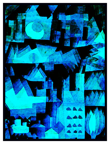 Dream City in Blue by Expressionist Artist Paul Klee Counted Cross Stitch Pattern