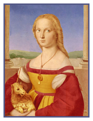 Young Woman with an Unicorn By Renaissance Painter Raphael Counted Cross Stitch Pattern