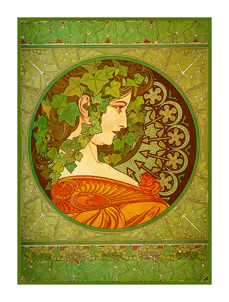 Ivy by Alphonse Mucha Counted Cross Stitch or Counted Cross Stitch or Counted Needlepoint Pattern