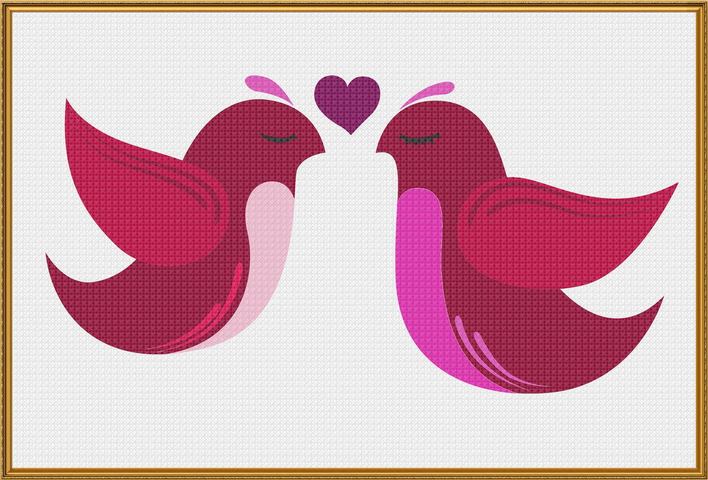 Contemporary Folk Art Love Birds in Pinks Heart Sew So Simple ™ Counted Cross Stitch or Counted Needlepoint Pattern