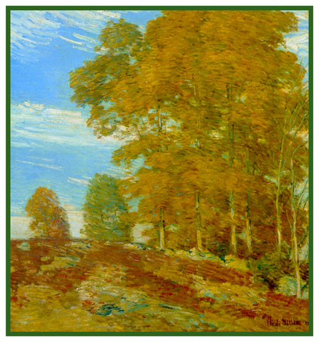 Autumn Foliage on a Vermont Hilltop by American Impressionist Painter Childe Hassam Counted Cross Stitch Pattern
