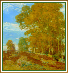 Autumn Foliage on a Vermont Hilltop by American Impressionist Painter Childe Hassam Counted Cross Stitch or Counted Needlepoint Pattern