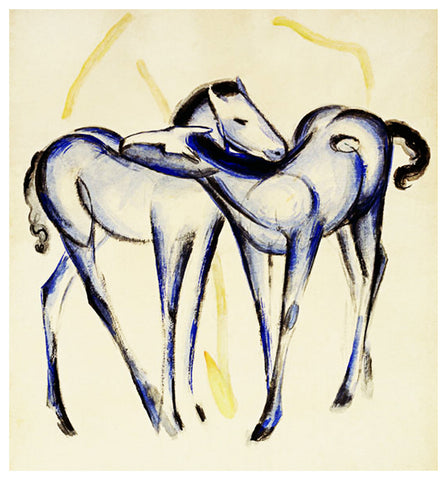 Sketch of 2 Blue Horse Foals by Expressionist Artis Franz Marc Counted Cross Stitch or Counted Needlepoint Pattern