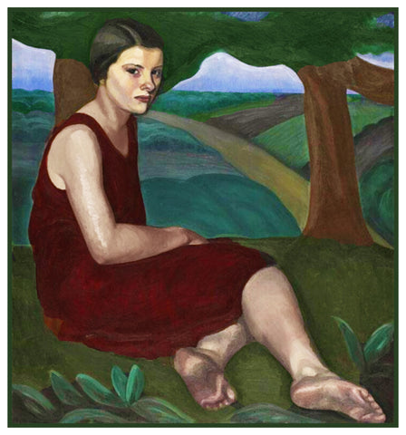 Girl On A Hill by Canadian Artist Prudence Heward Counted Cross Stitch Pattern