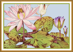 Tanigami Konan Asian Lotus Flower Counted Cross Stitch or Counted Needlepoint Pattern