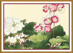 Tanigami Konan Asian Primula Primrose Flowers Counted Cross Stitch or Counted Needlepoint Pattern