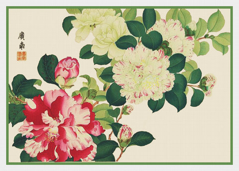 Tanigami Konan Asian Camelia Flowers Counted Cross Stitch Pattern DIGITAL DOWNLOAD