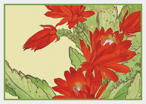 Tanigami Konan Asian Christmas Cactus Flowers Counted Cross Stitch Pattern DIGITAL DOWNLOAD