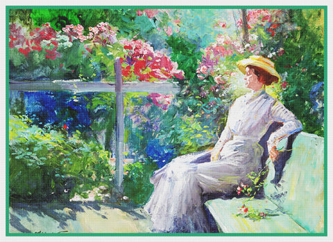 Enjoying Rose Garden By  Abbott Fuller Graves Counted Cross Stitch Pattern DIGITAL DOWNLOAD