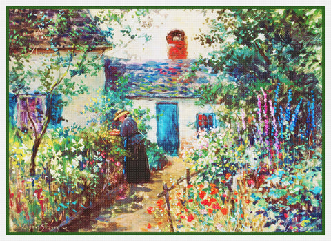Kennebunkport Maine Flower Garden By Abbott Fuller Graves Counted Cross Stitch Pattern
