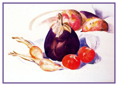 Vegetables Eggplant Tomatoes Still Life by American Artist Charles Demuth Counted Cross Stitch Pattern