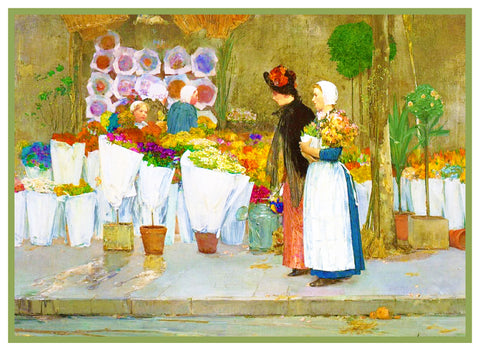 At the Florist by American Impressionist Painter Childe Hassam Counted Cross Stitch Pattern
