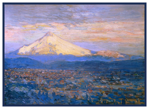 Mount Hood in Oregon by American Impressionist Painter Childe Hassam Counted Cross Stitch or Counted Needlepoint Pattern