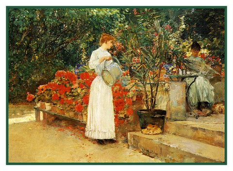 In The Garden After Breakfast by American Impressionist Painter Childe Hassam Counted Cross Stitch Pattern
