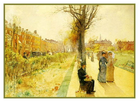 Boston Common 1891 by American Impressionist Painter Childe Hassam Counted Cross Stitch Pattern