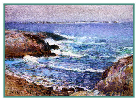 Cannon Beach Oregon by American Impressionist Painter Childe Hassam Counted Cross Stitch Pattern