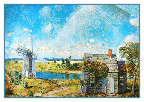 A Long Island Landscape by American Impressionist Painter Childe Hassam Counted Cross Stitch or Counted Needlepoint Pattern