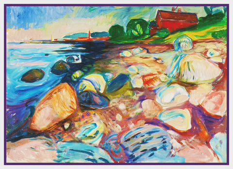 The Sea Shore Landscape by Symbolist Artist Edvard Munch Counted Cross Stitch Pattern DIGITAL DOWNLOAD