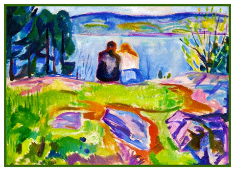Lovers in Springtime by Symbolist Artist Edvard Munch Counted Cross Stitch Pattern