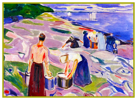 Washing Clothes by Sea Shore by Symbolist Artist Edvard Munch Counted Cross Stitch Pattern