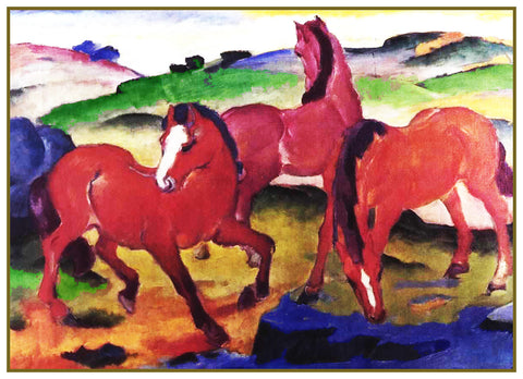 3 Grazing Horses by Expressionist Artis Franz Marc Counted Cross Stitch Pattern