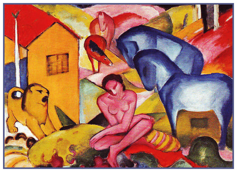 The Dream with Animals by Expressionist Artis Franz Marc Counted Cross Stitch or Counted Needlepoint Pattern