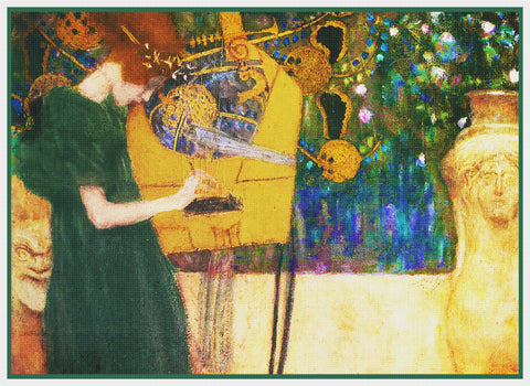 Symbolist Gustav Klimt Musik Counted Cross Stitch Pattern