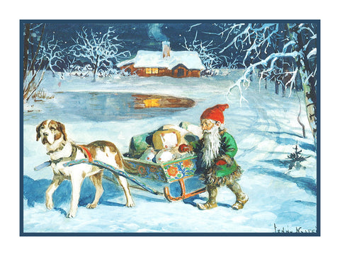 Elf Gnome Delivering Presents on Dog Sled Jenny Nystrom  Holiday Christmas Counted Cross Stitch or Counted Needlepoint Pattern