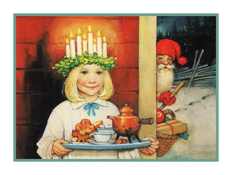 Girl Santa Lucia Festival with Elf Jenny Nystrom Holiday Christmas Counted Cross Stitch Pattern DIGITAL DOWNLOAD