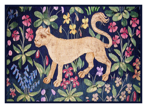 Cougar Detail from the Lady and The Unicorn Tapestries Counted Cross Stitch or Counted Needlepoint Pattern