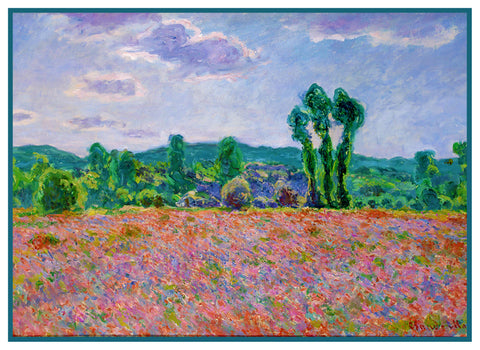 Field of Poppies inspired by Claude Monet's impressionist painting Counted Cross Stitch Pattern
