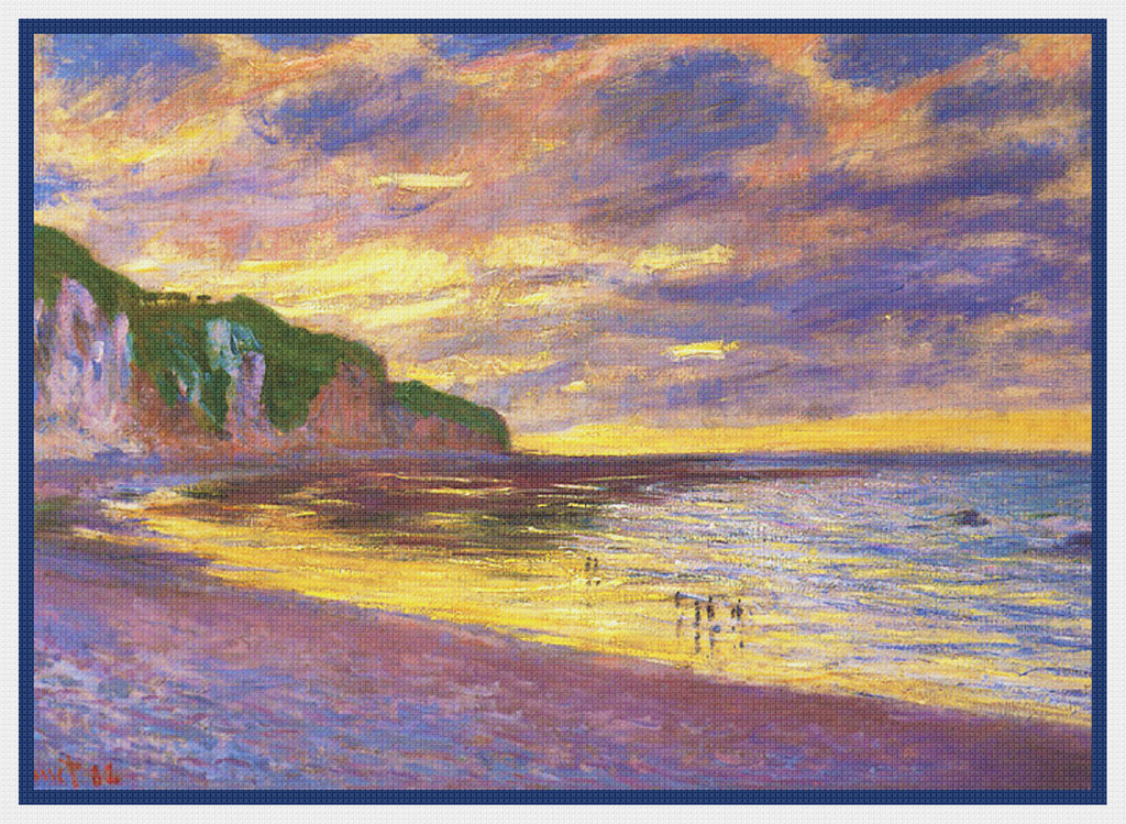 L'Ally Point at Low Tide inspired by Claude Monet's Impressionist painting Counted Cross Stitch Pattern DIGITAL DOWNLOAD