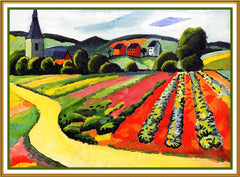 Landscape in Tegernsee Bavaria by Expressionist Artist August Macke Counted Cross Stitch or Counted Needlepoint Pattern