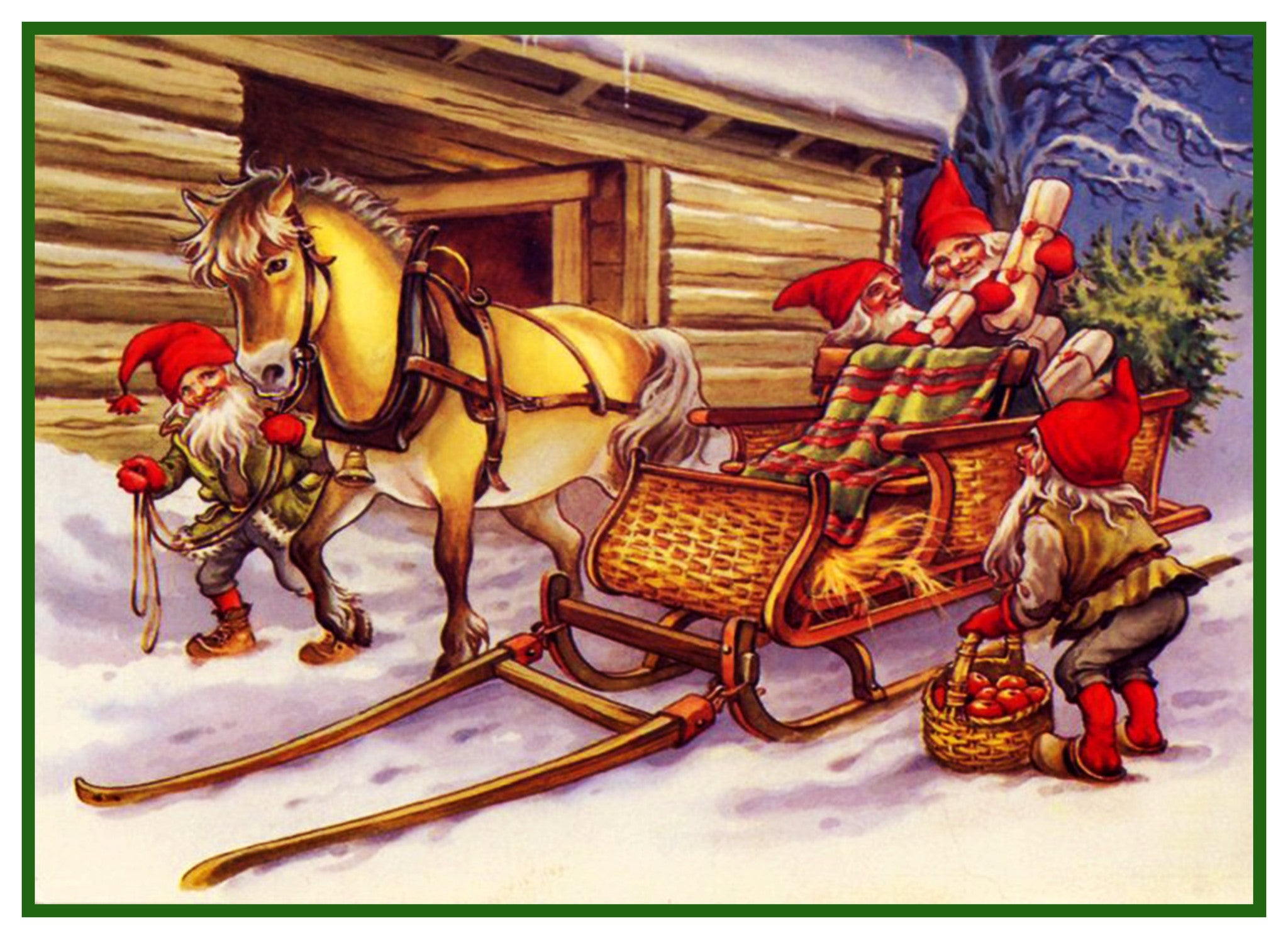 Christmas Horse Pictures.Elves Pack Christmas Horse Drawn Sleigh Jenny Nystrom Holiday Christmas Counted Cross Stitch Pattern