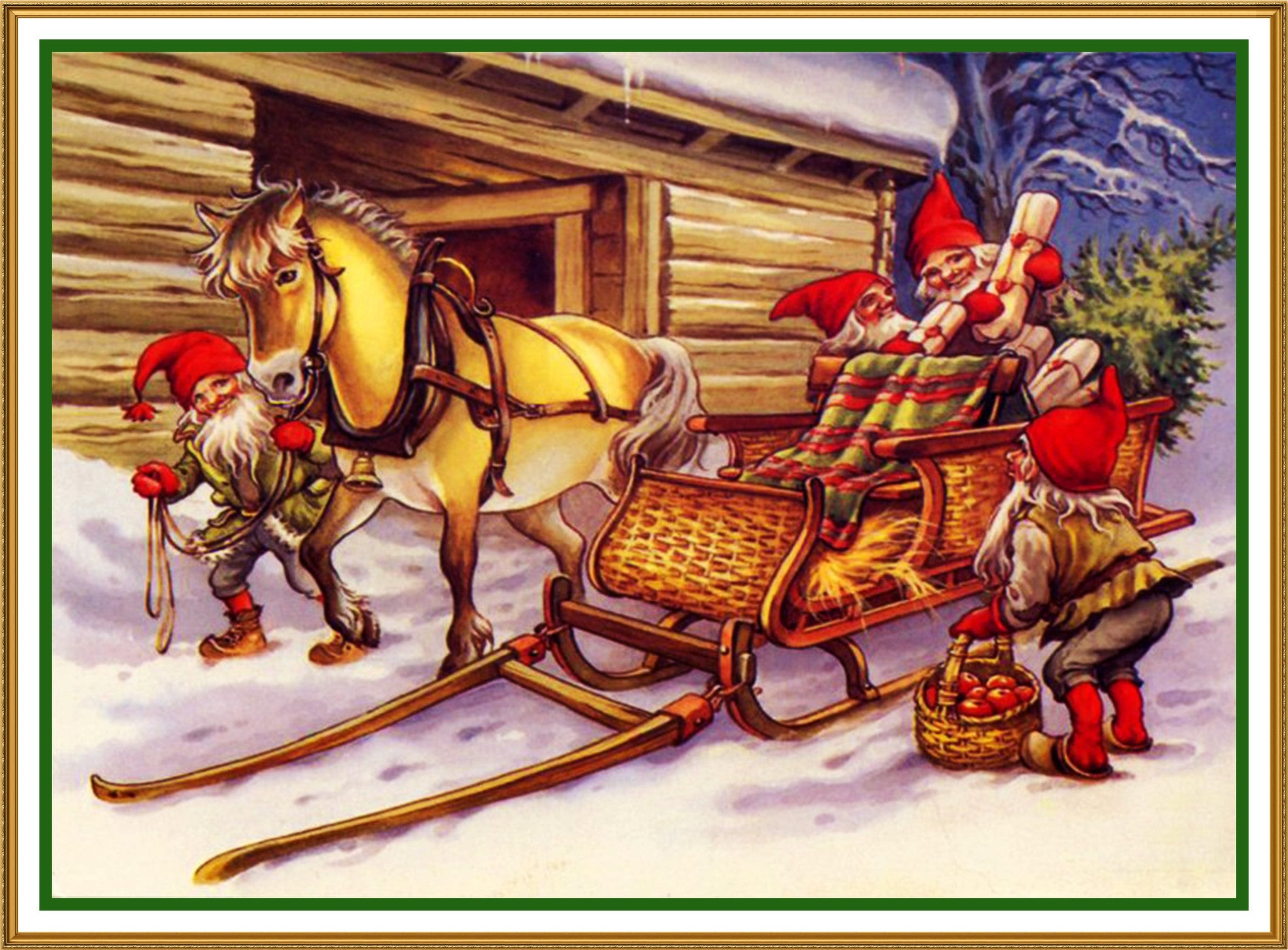 Elves Pack Christmas Horse Drawn Sleigh Jenny Nystrom Holiday Christma Orenco Originals Llc