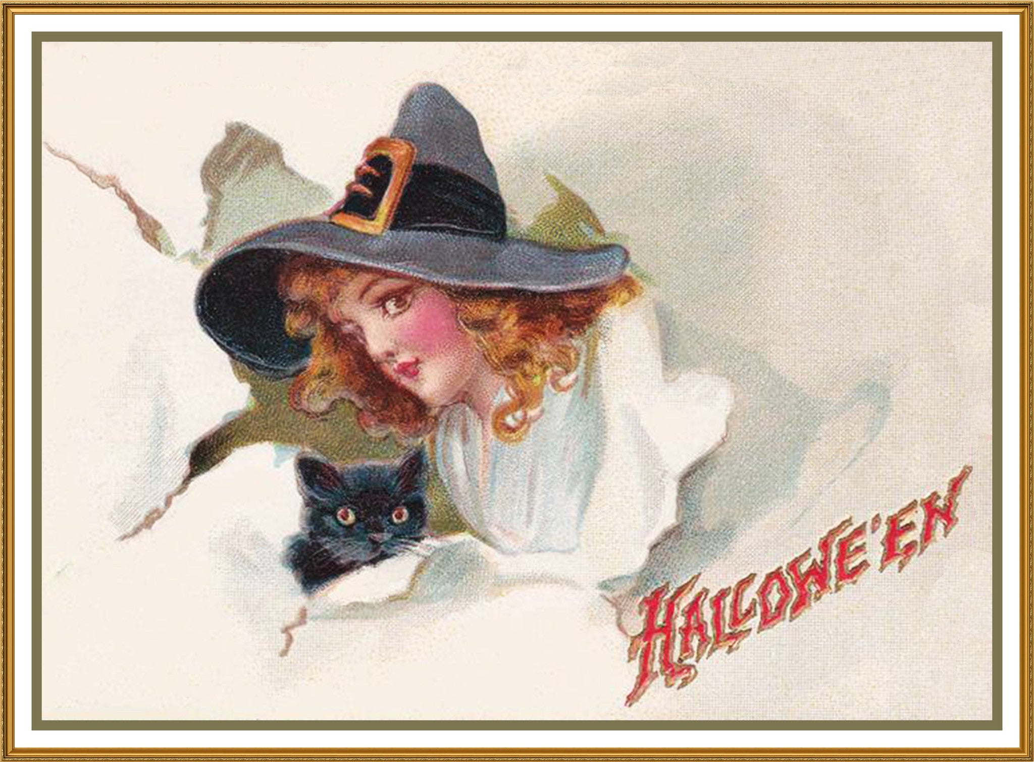 94956722411 Vintage Halloween Witches Head Black Cat by Frances Brundage Counted ...