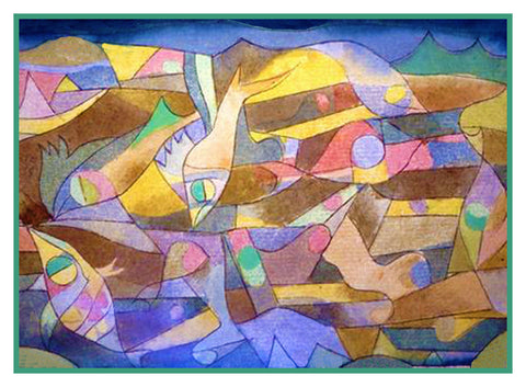 Playful Fish by Expressionist Artist Paul Klee Counted Cross Stitch Pattern