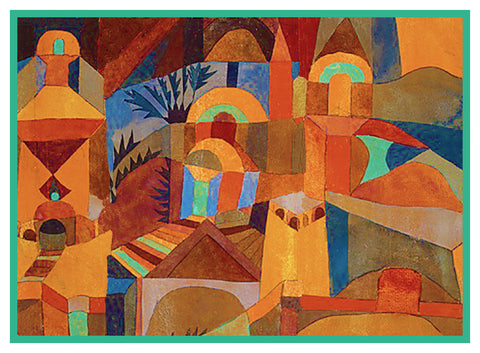 Temple Gardens by Expressionist Artist Paul Klee Counted Cross Stitch or Counted Needlepoint Pattern
