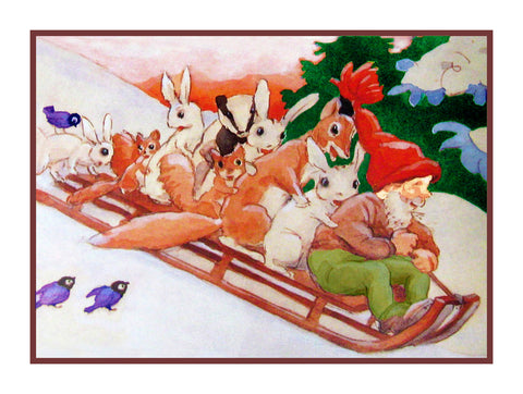 Elves Sledding with Forest Animals Holiday Christmas by Rudolf Koivu Counted Cross Stitch or Counted Needlepoint Pattern