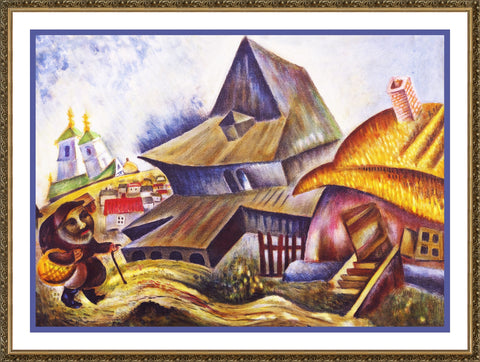 My Village by Russian Artist  Issachar Ber Ryback's Counted Cross Stitch or Counted Needlepoint Pattern