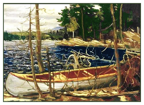 Tom Thomson's The Canoe Lake Trees Canada Landscape Counted Cross Stitch Pattern DIGITAL DOWNLOAD