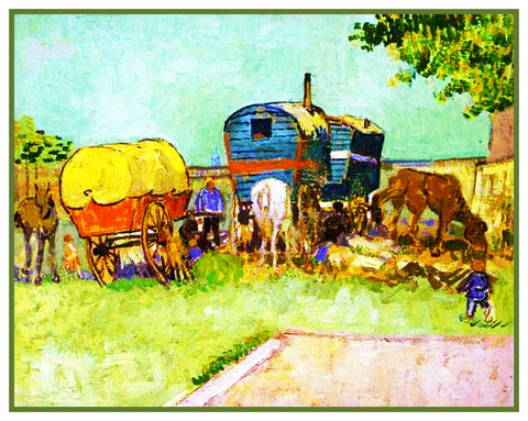 Gypsy Caravans in France by Vincent Van Gogh Counted Cross Stitch Pattern