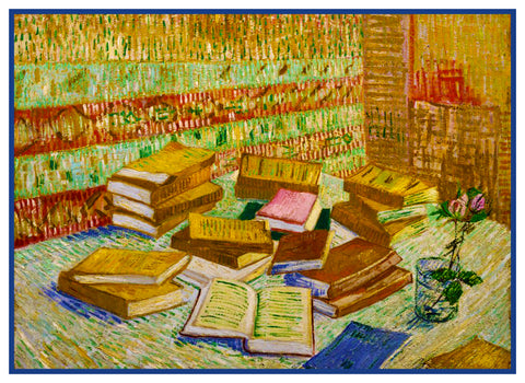 Parisian Novels Books Still Life by Vincent Van Gogh Counted Cross Stitch Pattern