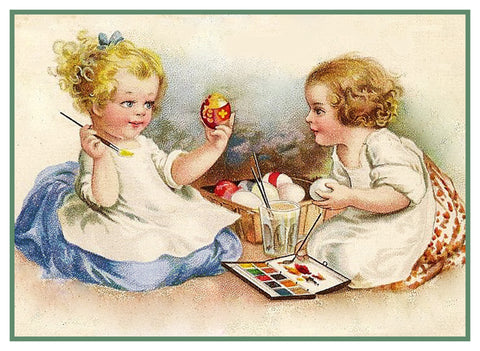 Vintage Easter 2 Girls Painting Easter Eggs Counted Cross Stitch Pattern