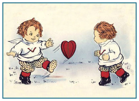 Vintage Valentine Angels Cupids Hearts From Antique Card Counted Cross Stitch Pattern