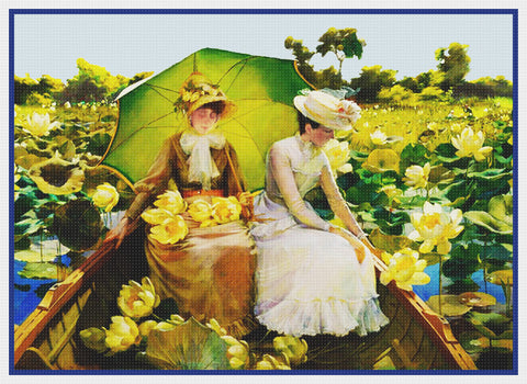 Boating Water Lily Pond By  Abbott Fuller Graves Counted Cross Stitch Pattern
